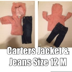 carters baby girl faux sherpa jacket & Jeans 12 M